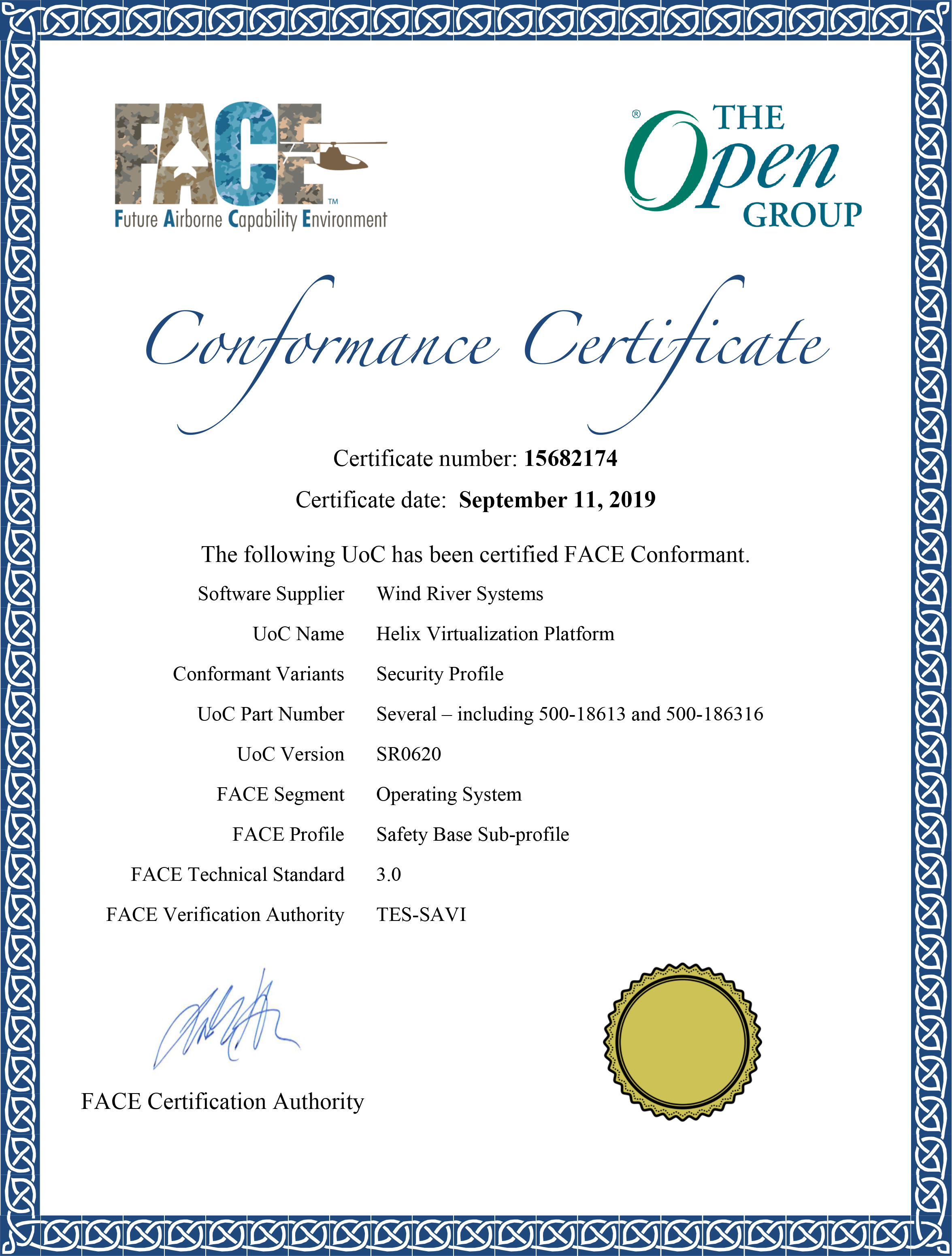 FACE Conformance Certificate